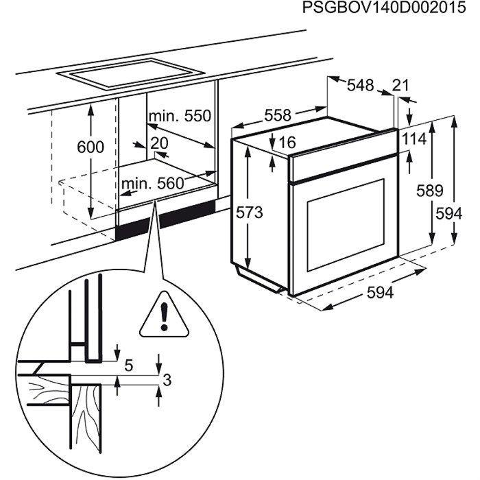 Electrolux EOC3430EOX rozmery