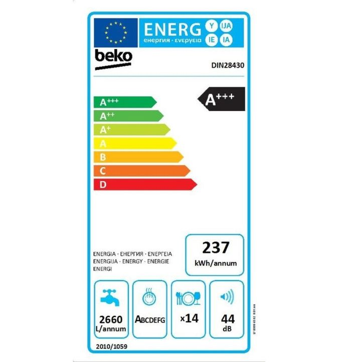 Beko DIN 28430 energetický štítok