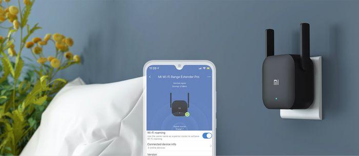 WiFi zosilovač Xiaomi Mi Wi-Fi Range Extender Pro prepojený s aplikáciou Mi Home