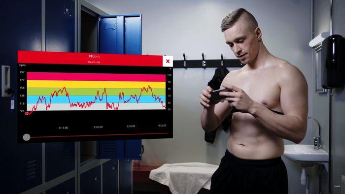 Polar H10 graf vývoja frekvencie srdcového tepu