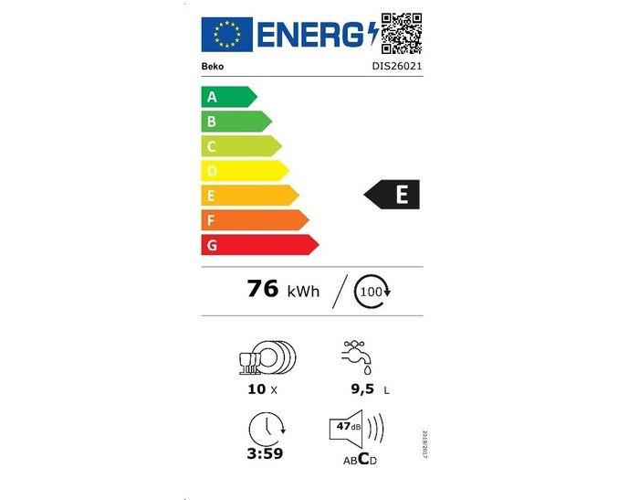 Beko DIS26021 energetický štítok