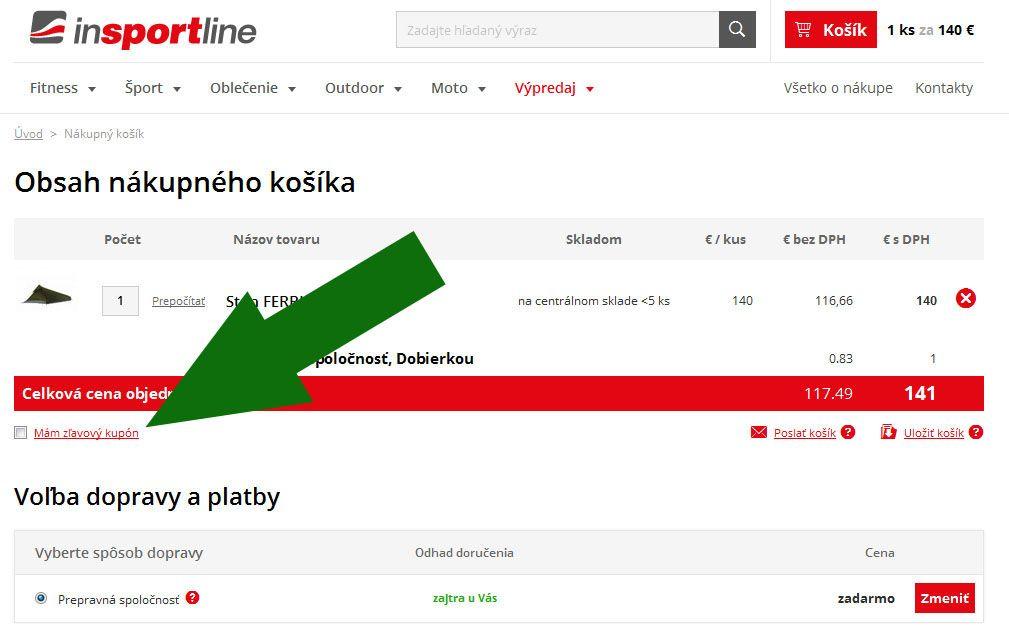 Uplatnenie zľavového kódu v Insportline