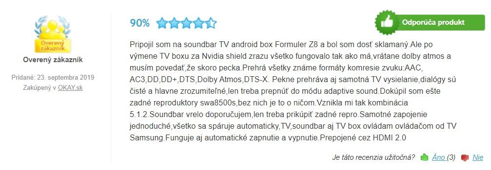 Recenzie a skúsenosti so Samsung HW-Q70R