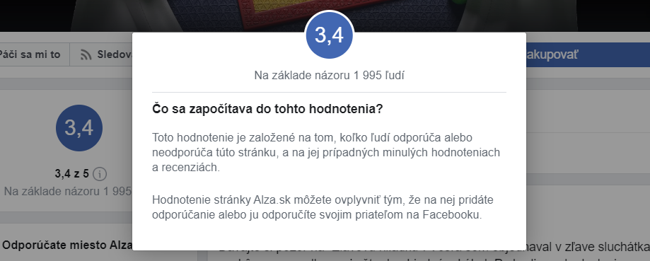 Alza.sk hodnotenie e-shopu na Facebooku