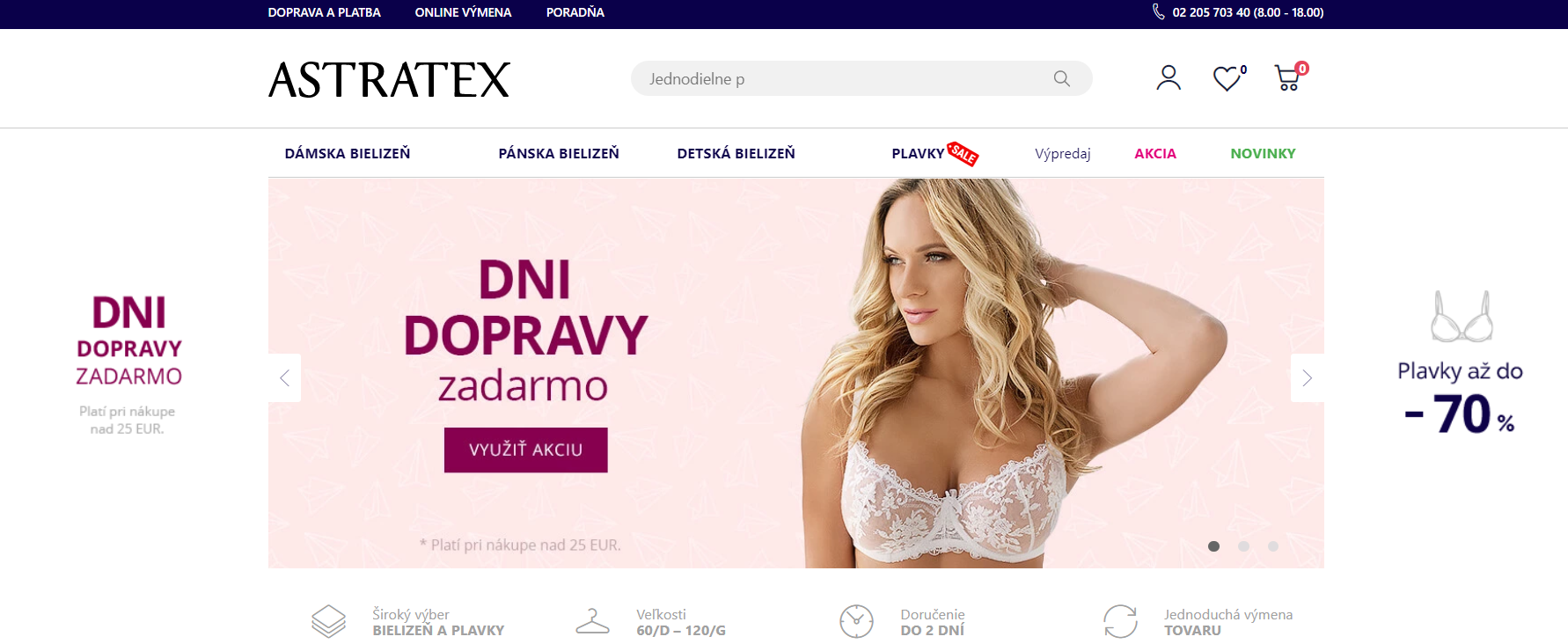 Internetový obchod so spodnou bielizňou astratex.sk