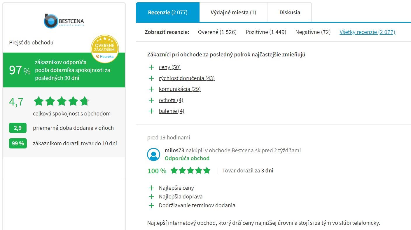 Hodnotenie e-shopu Bestcena.sk na portáli Heureka.sk