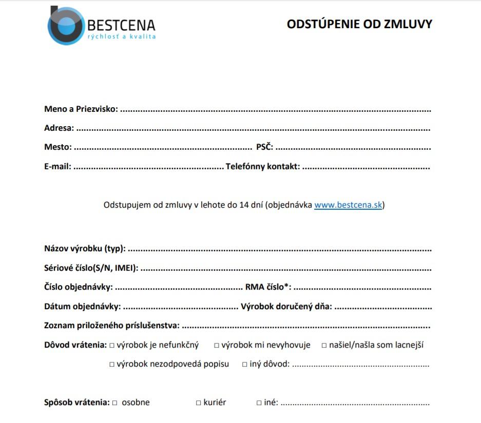 Odstúpenie od zmluvy Bestcena.sk