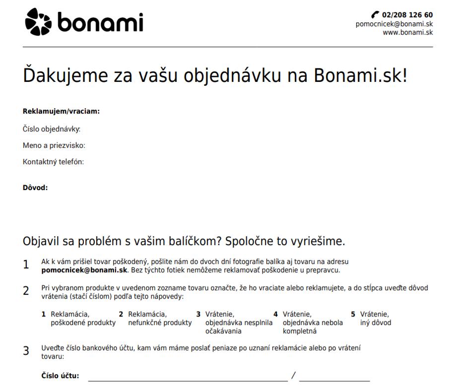 Formulár na odstúpenie od zmluvy - vrátenie/reklamáciu tovaru bonami.sk