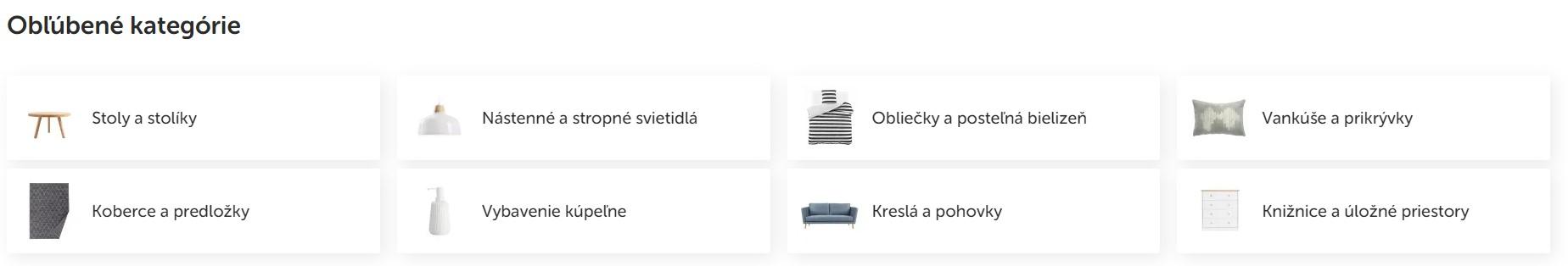 Obľúbené kategórie v e-shope bonami.sk