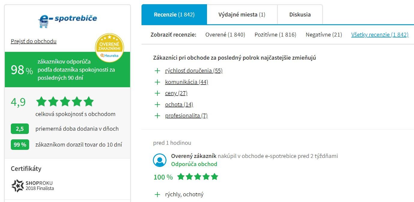 Hodnotenie e-shopu e-spotrebice.sk na portáli heureka.sk