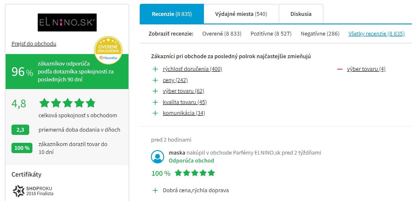 Hodnotenie e-shopu parfemy-elnino.sk na portáli heureka.sk
