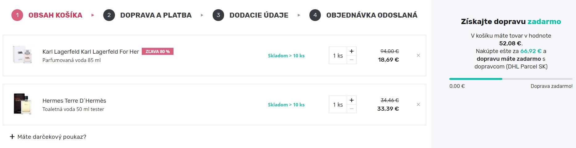 parfemy-elnino.sk nákup tovaru, objednávka