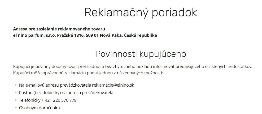 parfemy-elnino.sk reklamačný poriadok