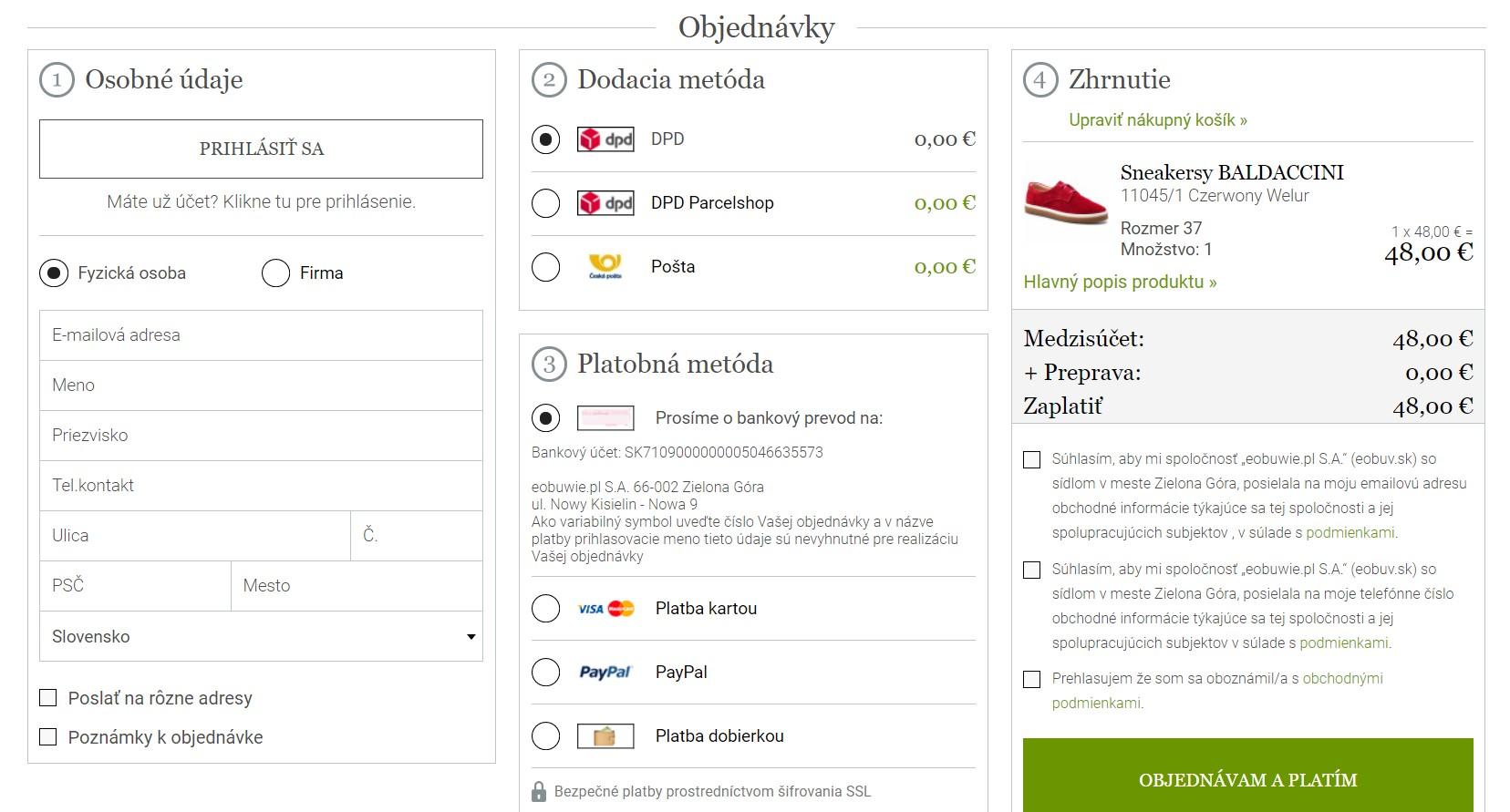 Nákup v internetovom obchode Eobuv.sk