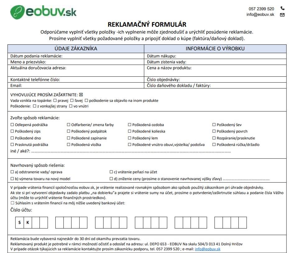 Reklamačný formulár eobuv.sk