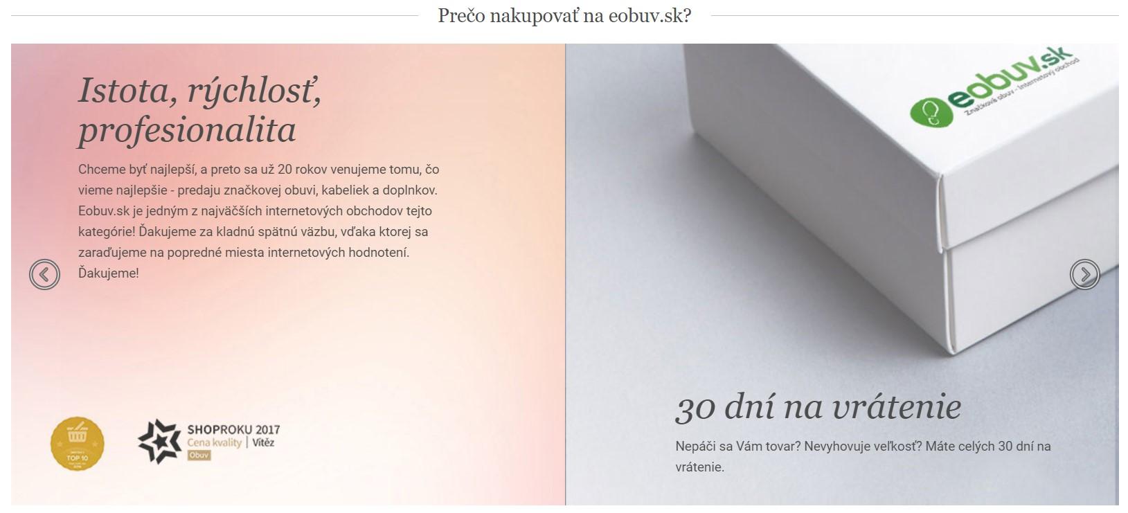 Výhody nákupu v e-shope Eobuv.sk