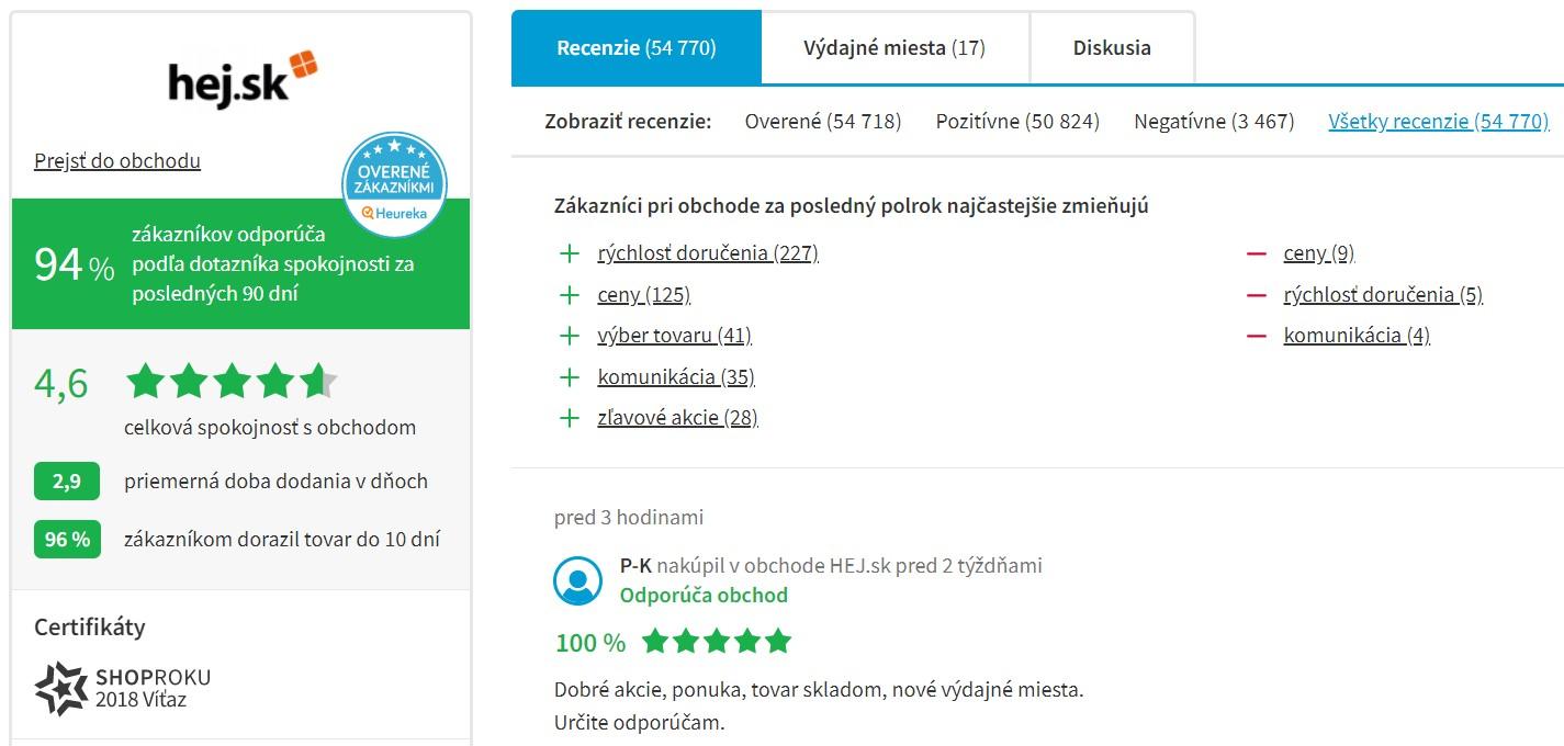 Hodnotenie e-shopu Hej.sk na portáli Heureka.sk