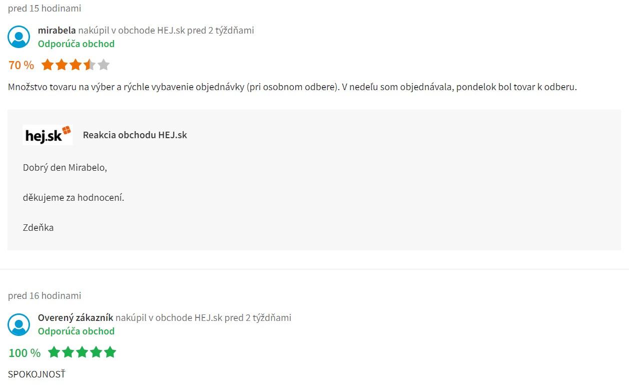 Recenzie a skúsenosti s internetovým obchodom hej.sk