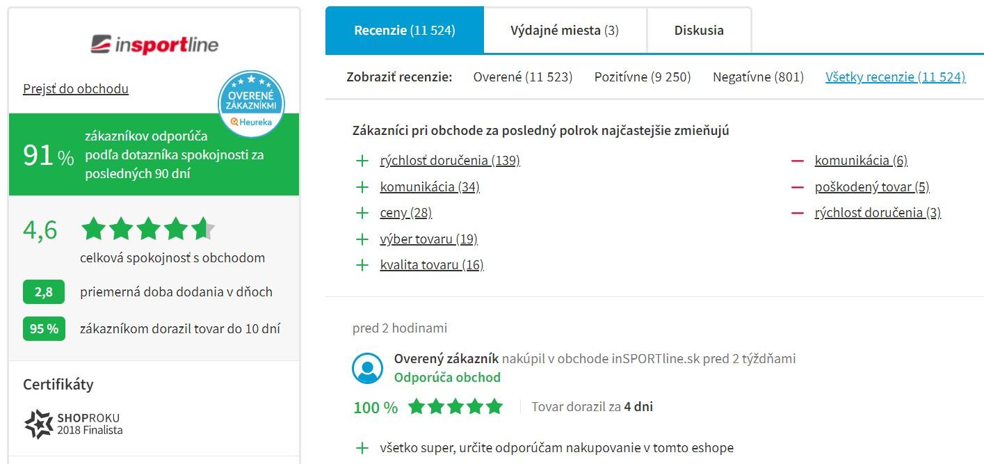 Hodnotenie e-shopu insportline.sk na portáli heureka.sk