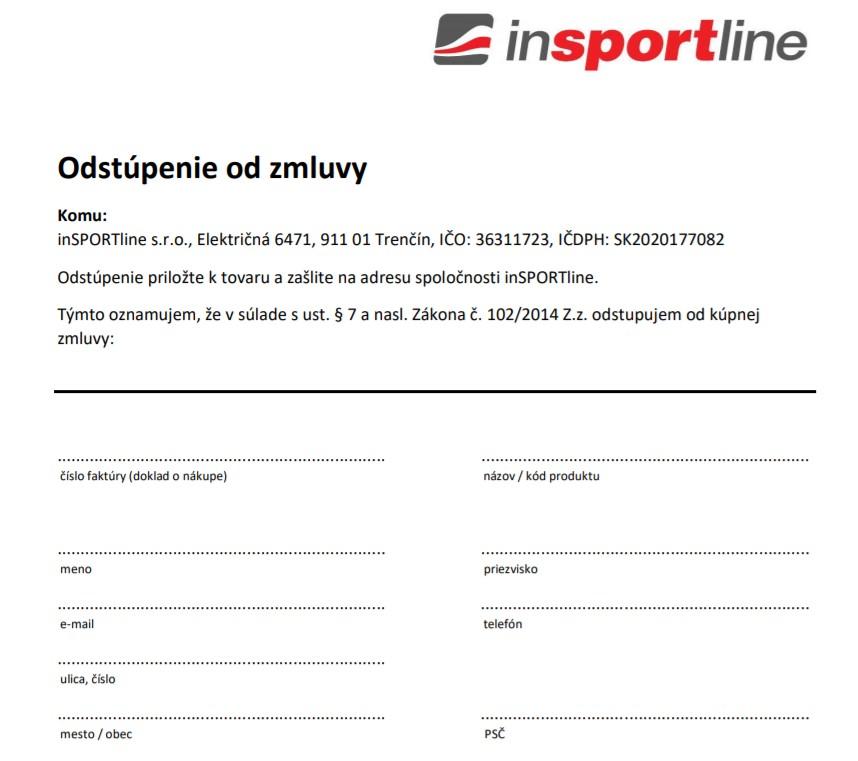insportline.sk formulár o odstúpeni od zmluvy