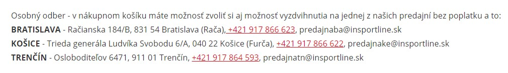 insportline.sk osobný odber na predajni