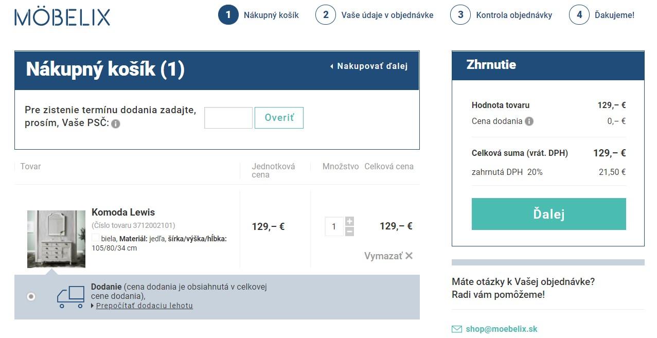 Nákup tovaru v e-shope moebelix.sk