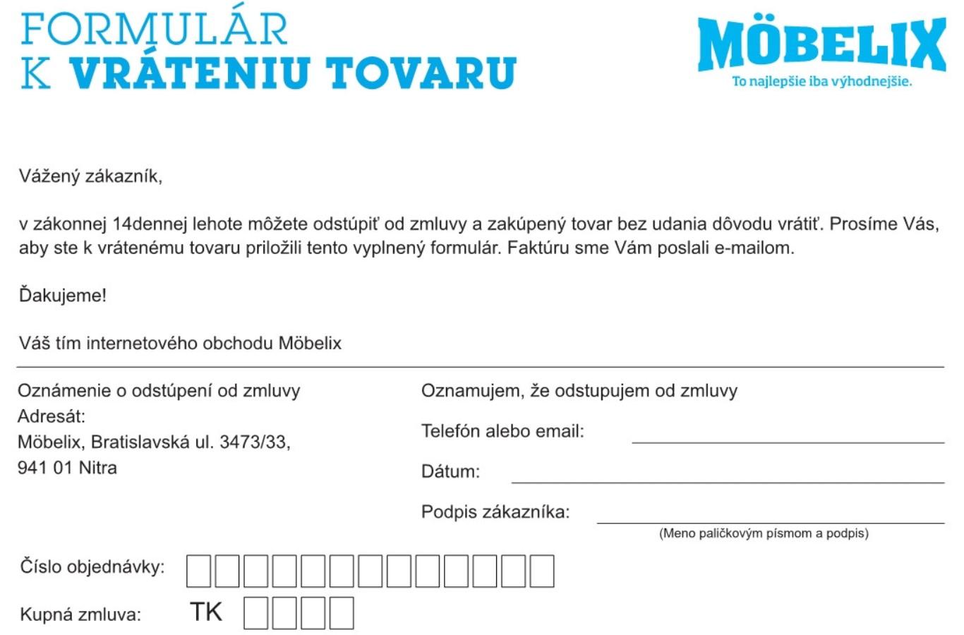 Formulár na vrátenie tovaru Möbelix