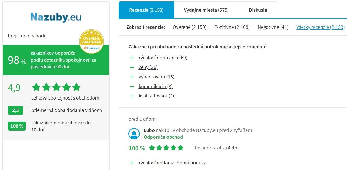 Hodnotenie e-shopu nazuby.eu na portáli heureka.sk