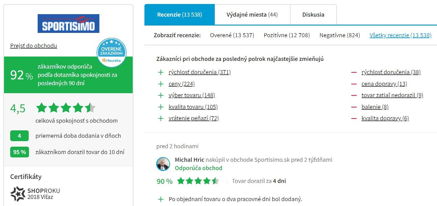 Hodnotenie e-shopu sportisimo.sk na portáli heureka.sk