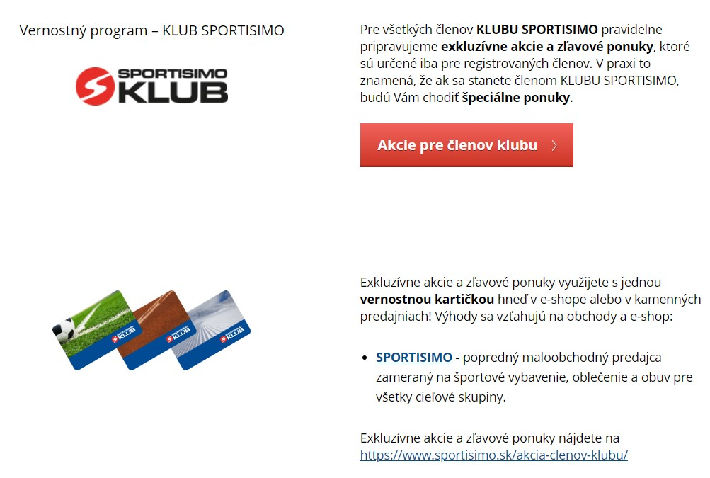 sportisimo.sk vernostný program