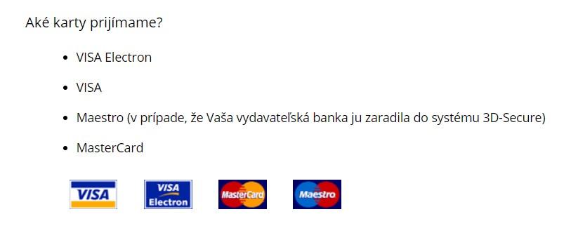 Platba kartou sportisimo.sk