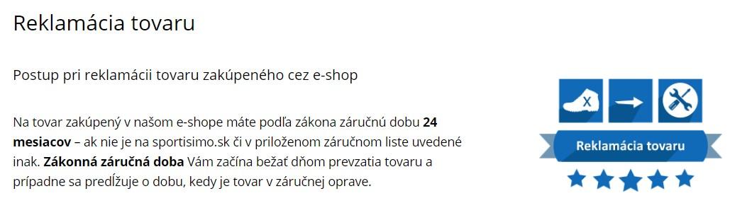 sportisimo.sk reklamácia tovaru