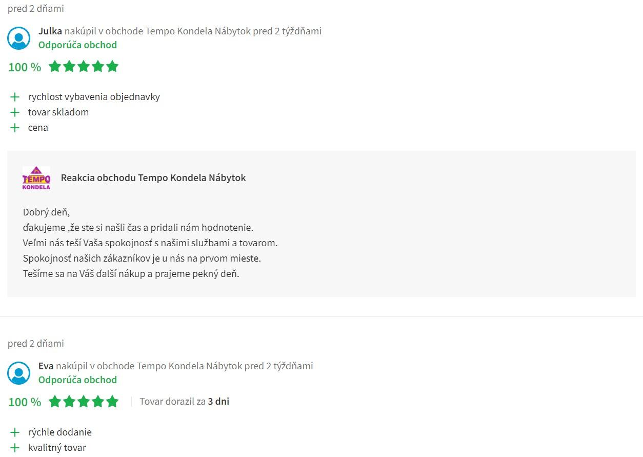 Recenzie a skúsenosti s e-shopom Temponabytok.sk