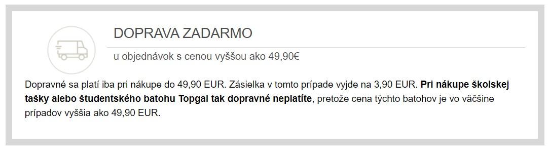 Doprava zdarma v obchode Topgal.sk