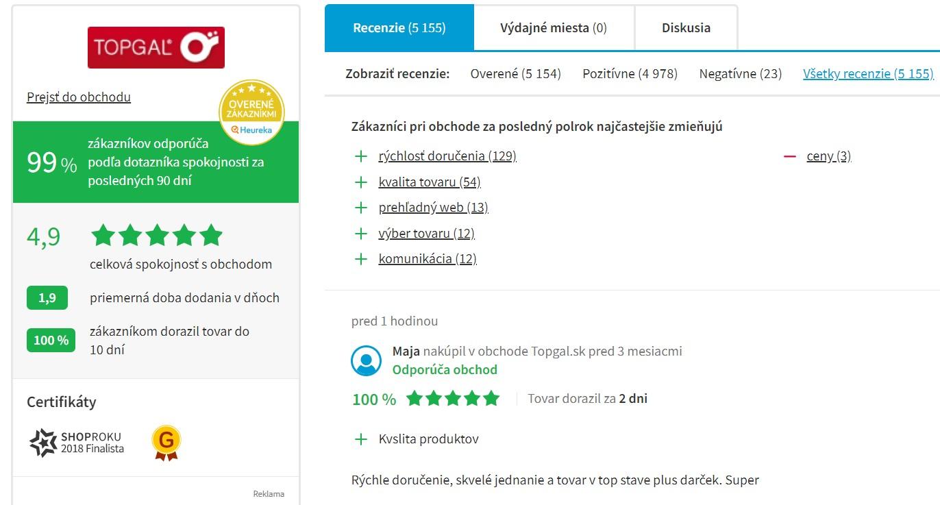 Hodnotenie e-shopu Topgal.sk na portáli Heureka.sk