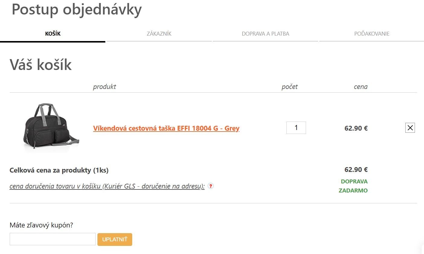 Objednanie tovaru v e-shope Topgal.sk