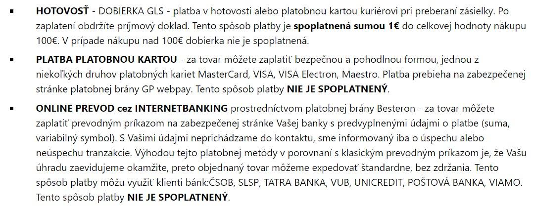 Možnosti platby v obchode Topgal.sk