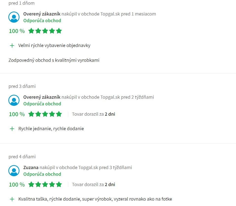 Recenzie a skúsenosti s e-shopom Topgal.sk
