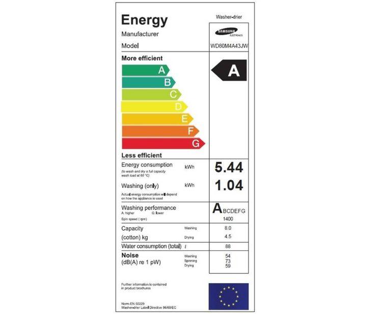 Samsung WD80M4A43JW energetický štítok