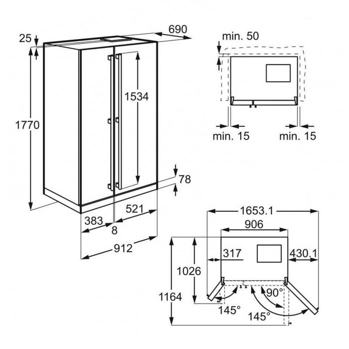 AEG RMB86111NX rozmery chladničky