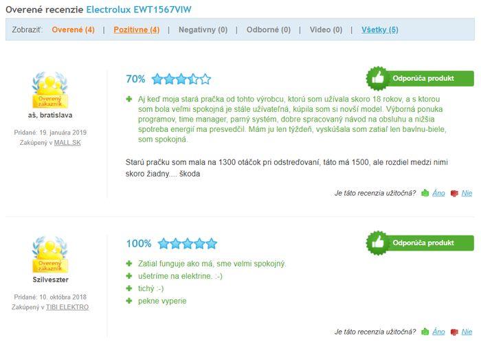 Skúsenosti s práčkou Electrolux EWT1567VIW