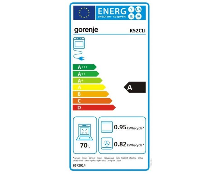 Gorenje K 52 CLI energetický štítok