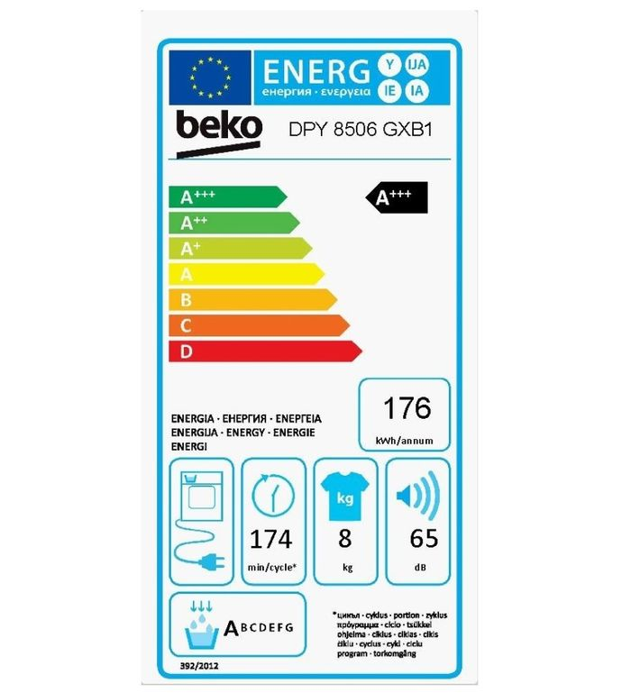 Beko DPY 8506 GXB1 energetický štítok