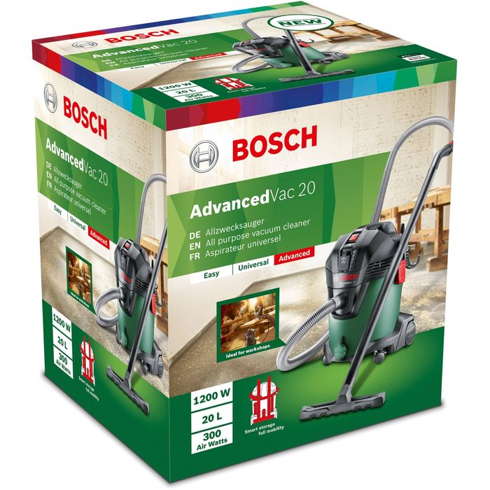 Priemyselný vysávač Bosch Advanced Vac 20 sa môže pochváliť bohatým príslušenstvom