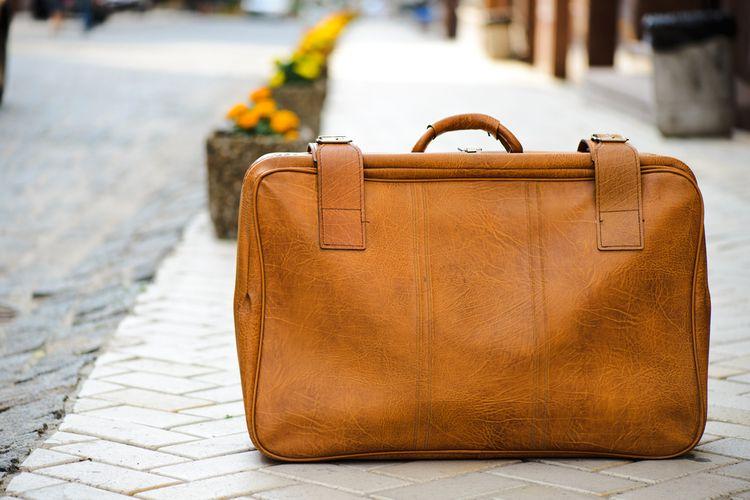 Kožený cestovný kufor