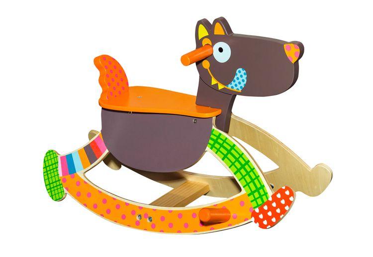 Farebný drevený hojdací pes