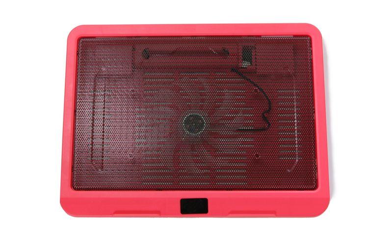 Červená chladiaca podložka pod notebook s 1 ventilátorom