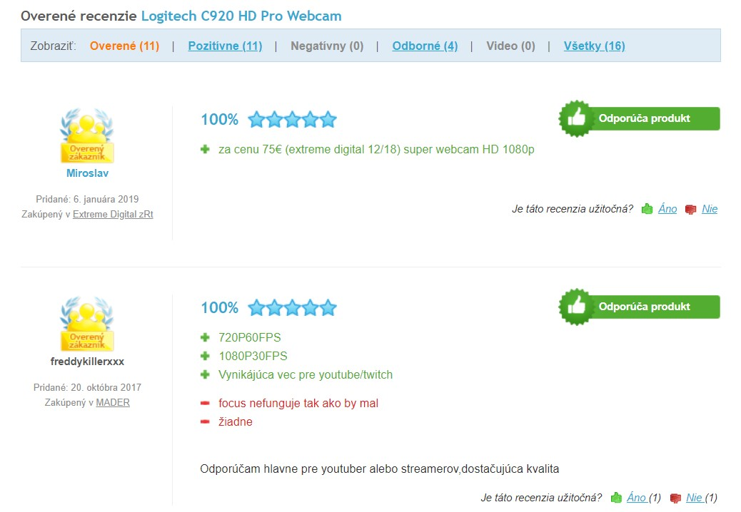 Recenzie a skúsenosti s webkamerou Logitech C920 HD Pro Webcam