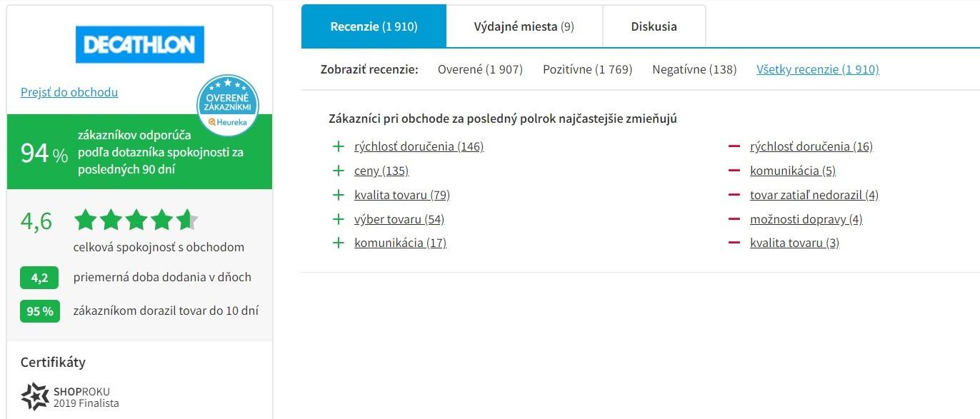 Hodnotenie e-shopu Decathlon na heureke