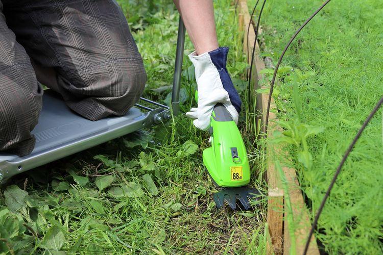 Zelené akumulátorové nožnice na živý plot